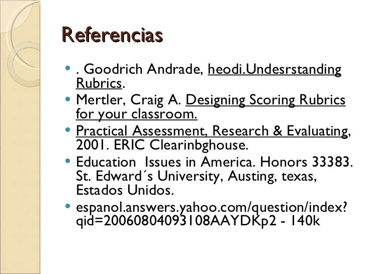 goodrich andrade rubric literary essay The results from the response to literature essay showed no effect of treatment for either boys or girls role of rubric-referenced self-assessment in learning to write heidi goodrich andrade college teaching published online: 7 aug 2010.