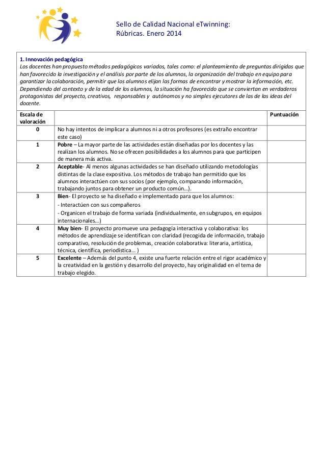Sello de Calidad Nacional eTwinning: Rúbricas. Enero 2014 1. Innovación pedagógica Los docentes han propuesto métodos peda...