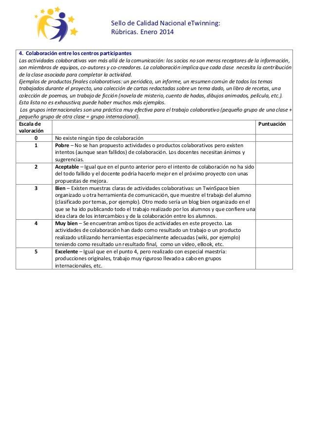 Sello de Calidad Nacional eTwinning: Rúbricas. Enero 2014 4. Colaboración entre los centros participantes Las actividades ...