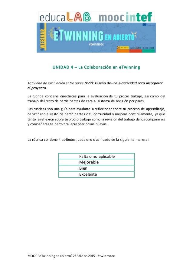 """MOOC """"eTwinningenabierto""""2ªEdición2015 - #twinmooc UNIDAD 4 – La Colaboración en eTwinning Actividad de evaluación entre p..."""
