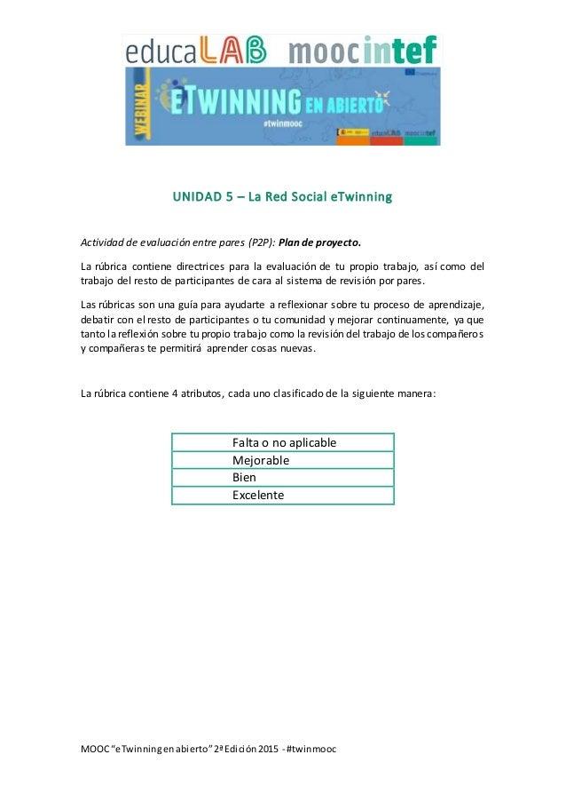 """MOOC """"eTwinningenabierto""""2ªEdición2015 - #twinmooc UNIDAD 5 – La Red Social eTwinning Actividad de evaluación entre pares ..."""
