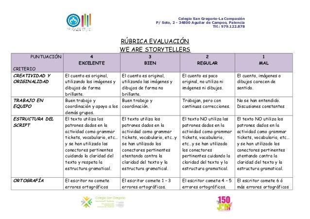 Colegio San Gregorio-La Compasión P/ Soto, 2 - 34800 Aguilar de Campoo, Palencia Tlf.: 979.122.878 RÚBRICA EVALUACIÓN WE A...