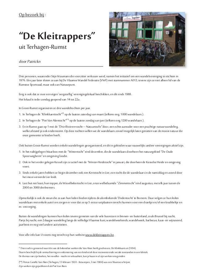 """Op bezoek bij :""""De Kleitrappers""""uit Terhagen-RumstdoorPatricknDrie personen, waaronder Stijn Waumans die voorzitter verkoz..."""