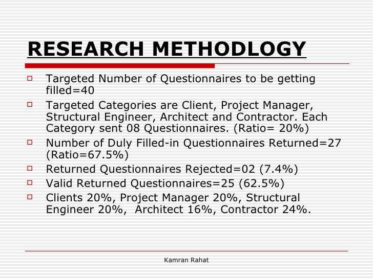 RESEARCH METHODLOGY <ul><li>Targeted Number of Questionnaires to be getting filled=40 </li></ul><ul><li>Targeted Categorie...