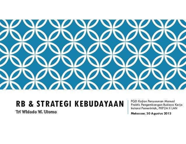 RB & STRATEGI KEBUDAYAAN FGD Kajian Penyusunan Manual Praktis Pengembangan Budaya Kerja Instansi Pemerintah, PKP2A II LAN ...