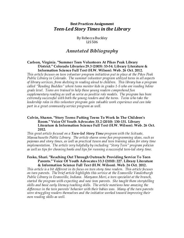 Best	  Practices	  Assignment	                     Teen-­‐Led	  Story	  Times	  in	  the	  Library	                       ...