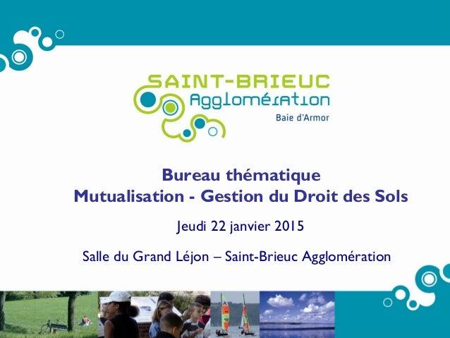 Réunion Bureau 22/01/15 – Document de travail Page 1 Bureau thématique Mutualisation - Gestion du Droit des Sols Jeudi 22 ...