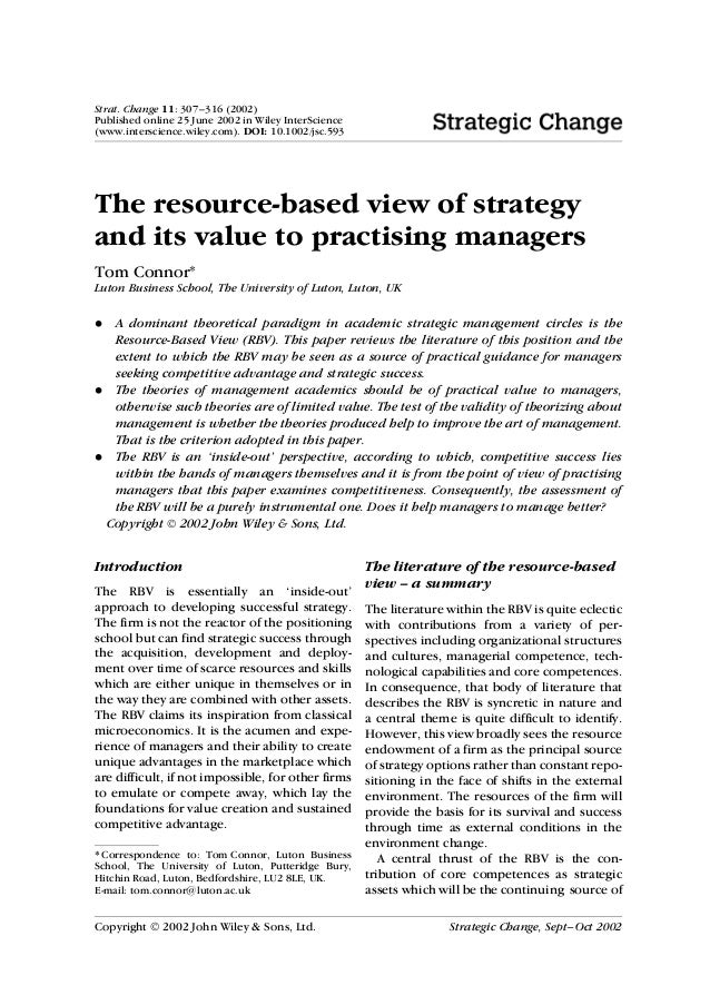 Strat. Change 11: 307–316 (2002)Published online 25 June 2002 in Wiley InterScience(www.interscience.wiley.com). DOI: 10.1...