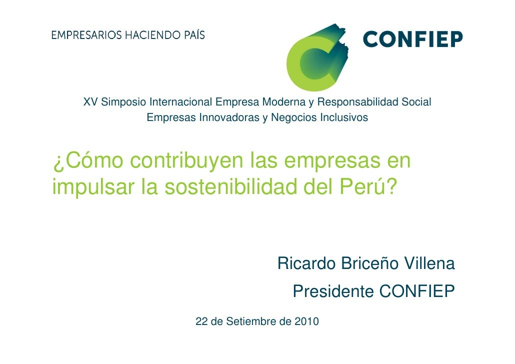 XV Simposio Internacional Empresa Moderna y Responsabilidad Social               Empresas Innovadoras y Negocios Inclusivo...