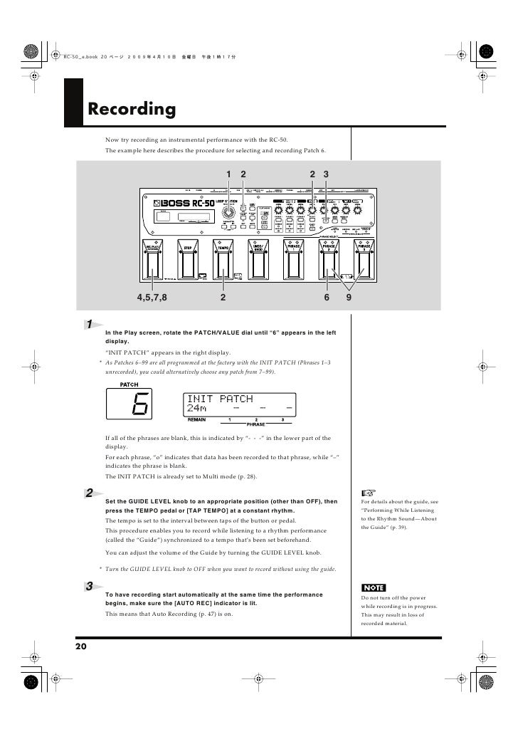 Recording           Now try recording an instrumental performance with the RC-50.           The example here describes the...