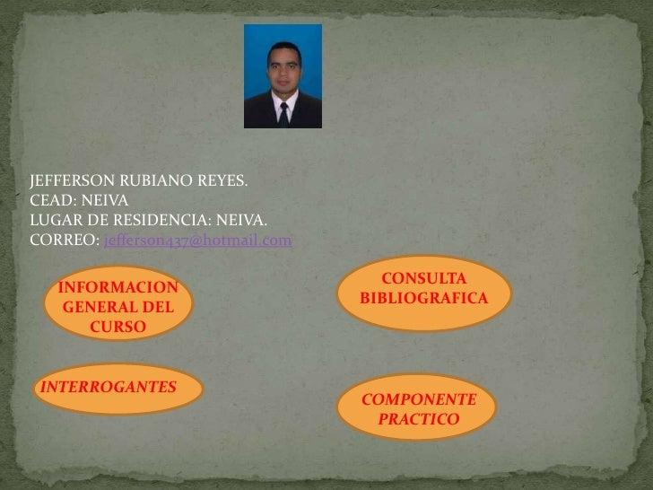 JEFFERSON RUBIANO REYES.CEAD: NEIVALUGAR DE RESIDENCIA: NEIVA.CORREO: jefferson437@hotmail.com                            ...
