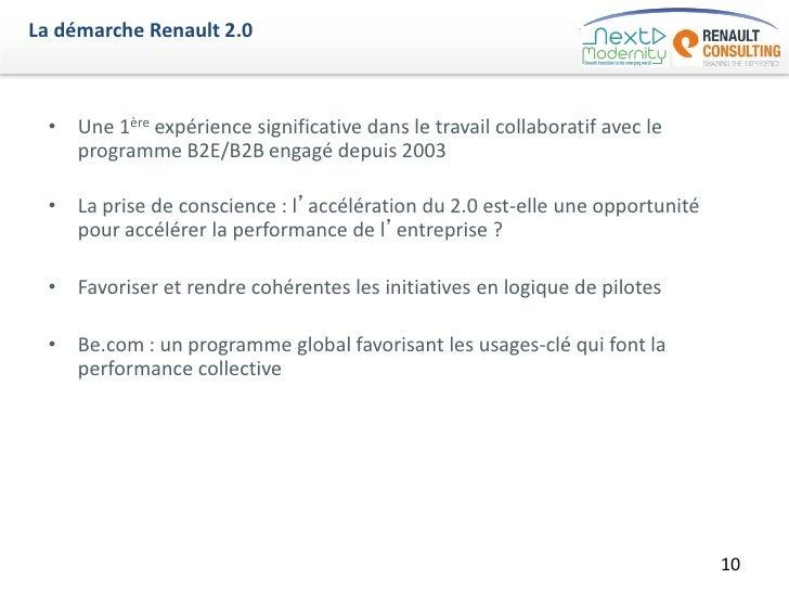 La démarche Renault 2.0  • Une 1ère expérience significative dans le travail collaboratif avec le    programme B2E/B2B eng...