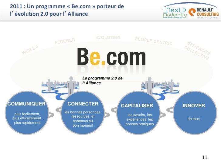 2011 : Un programme « Be.com » porteur del'évolution 2.0 pour l'Alliance                                           EVOLUTI...