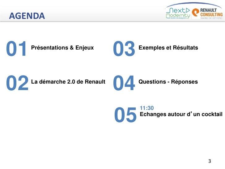 AGENDA01   Présentations & Enjeux                                  03   Exemples et Résultats02   La démarche 2.0 de Renau...