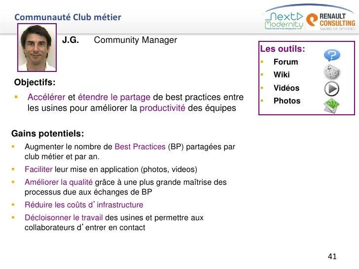 Communauté Club métier               J.G.     Community Manager                                                           ...