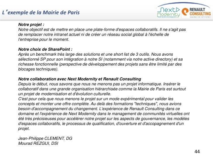 L'exemple de la Mairie de Paris      Notre projet :      Notre objectif est de mettre en place une plate-forme despaces co...