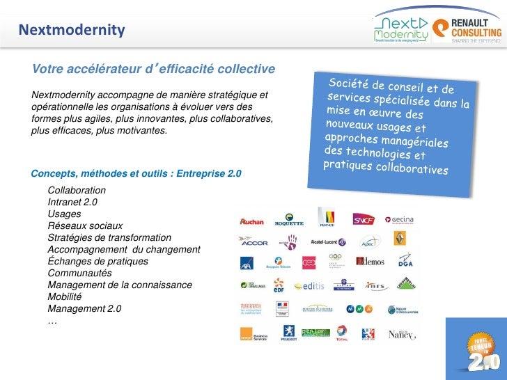 Nextmodernity Votre accélérateur d'efficacité collective Nextmodernity accompagne de manière stratégique et opérationnelle...
