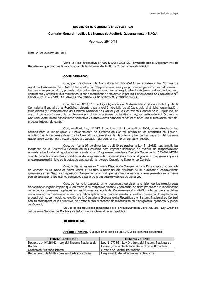 www.contraloria.gob.pe                                  Resolución de Contraloría Nº 309-2011-CG                Contralor ...