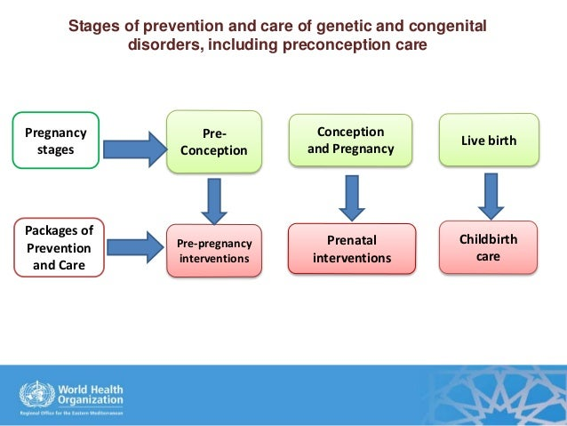 Stages of prevention and care of genetic and congenital disorders, including preconception care Conception and Pregnancy C...