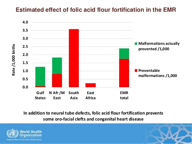 Estimated effect of folic acid flour fortification in the EMR 0.0 0.5 1.0 1.5 2.0 2.5 3.0 3.5 4.0 Gulf States N Afr /M Eas...