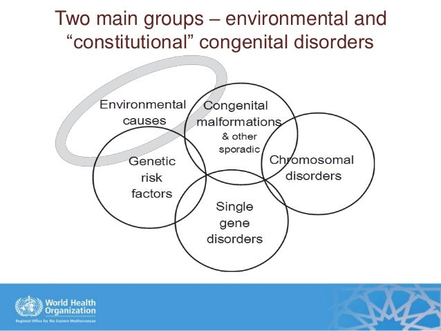 """Two main groups – environmental and """"constitutional"""" congenital disorders"""
