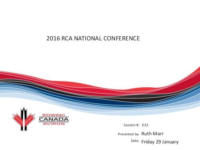 2016 RCA NATIONAL CONFERENCE Session #: Presented by: Date: D23 Ruth Marr Friday 29 January