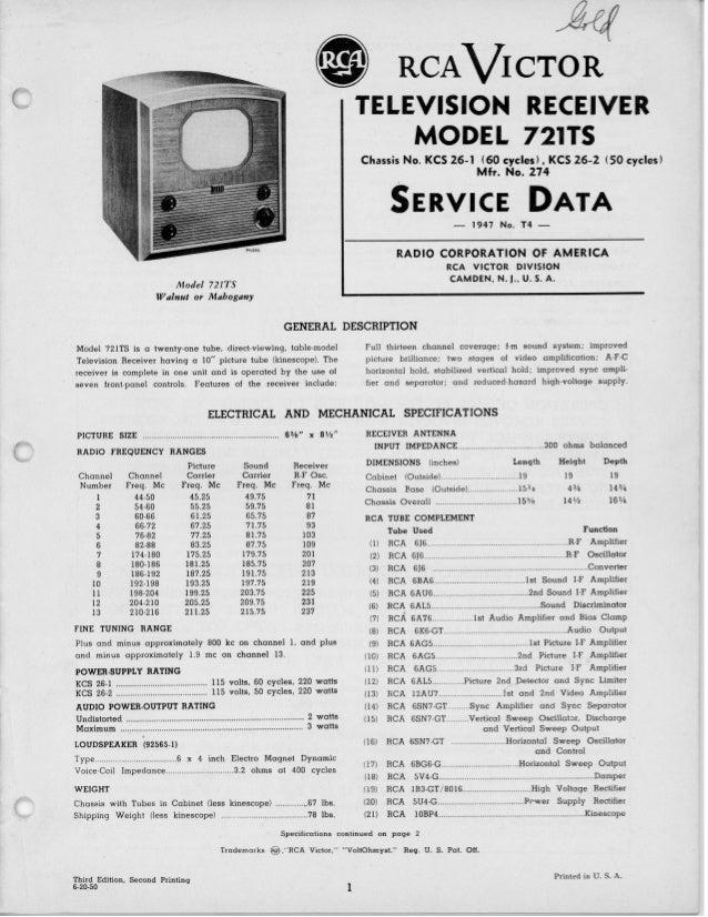 rca 721 ts television 1947 service manual big manual rh slideshare net RCA Flat Screen TV Manual rca television service manuals