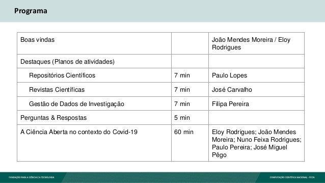Programa Boas vindas João Mendes Moreira / Eloy Rodrigues Destaques (Planos de atividades) Repositórios Científicos 7 min ...