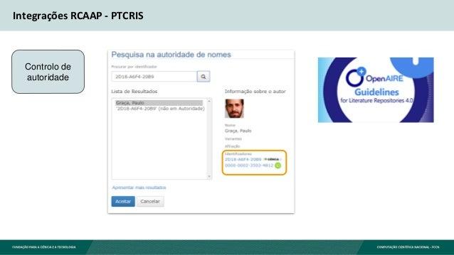 Integrações RCAAP - PTCRIS Controlo de autoridade