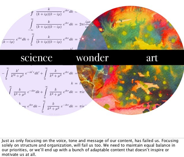 science                      wonder                               artJust as only focusing on the voice, tone and message ...