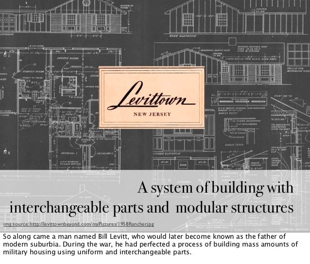 A system of building with  interchangeable parts and modular structuresimg source: http://levittownbeyond.com/myPictures/1...