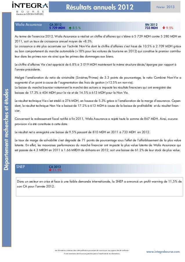 Résultats annuels 2012                                                                               Février   2013       ...