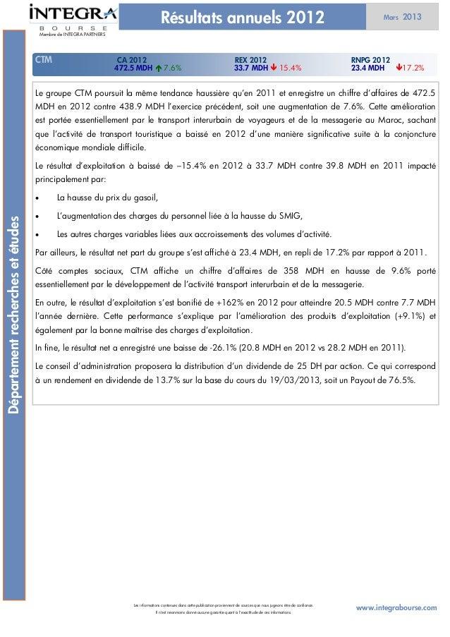 Résultats annuels 2012                                                                                 Mars   2013        ...