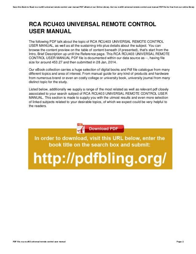 Rca Remote User Manual Ebook