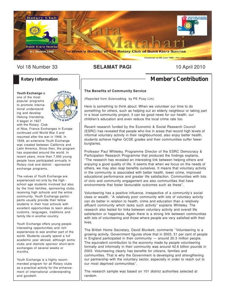 Vol 18 Number 33                                SELAMAT PAGI                                         10 April 2010    Rota...