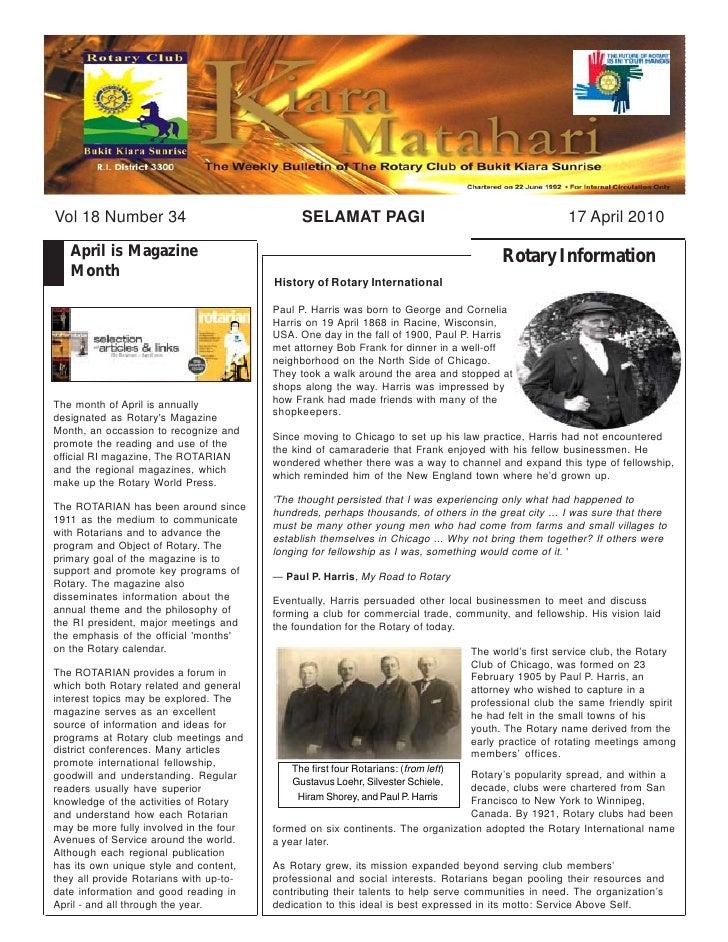 Vol 18 Number 34                              SELAMAT PAGI                                             17 April 2010     A...