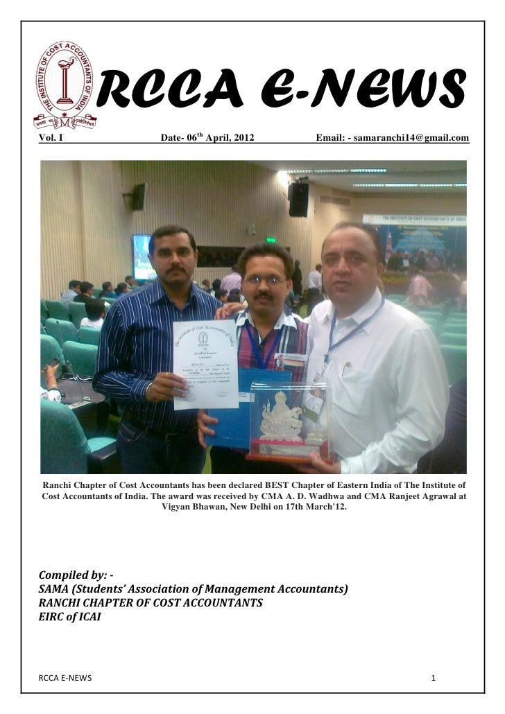 RCCA E-NEWSVol. I                      Date- 06th April, 2012               Email: - samaranchi14@gmail.comRanchi Chapter ...