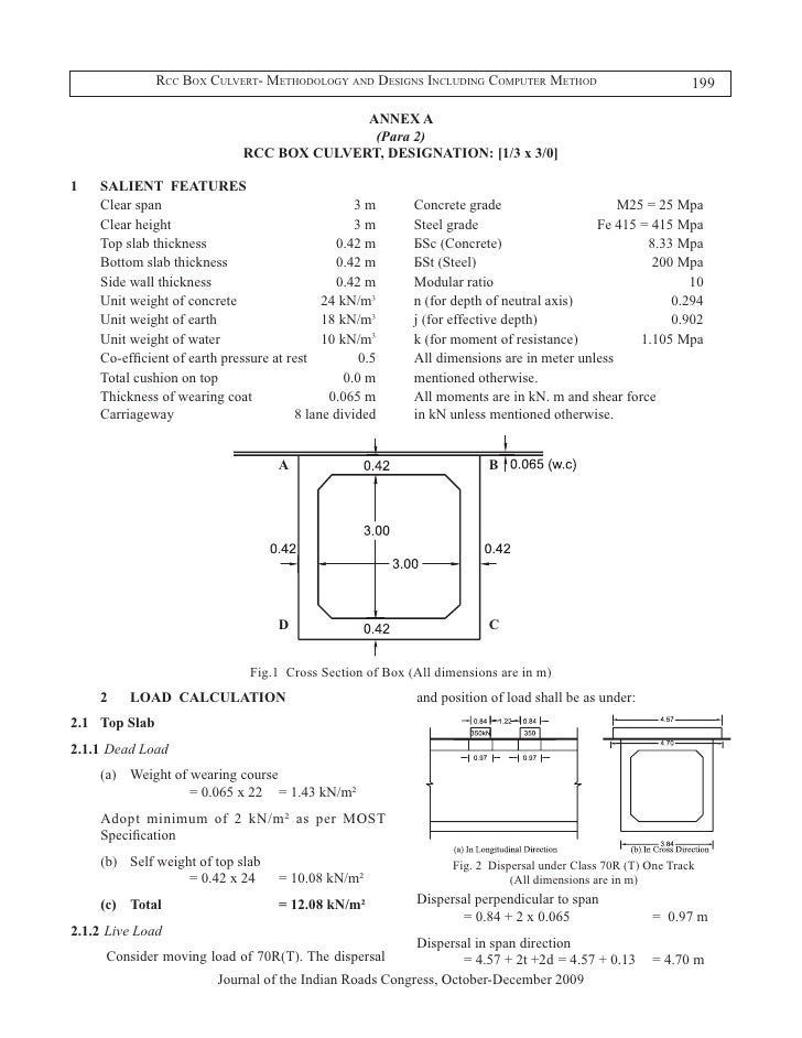 Rcc box culvert methodology and designs including computer