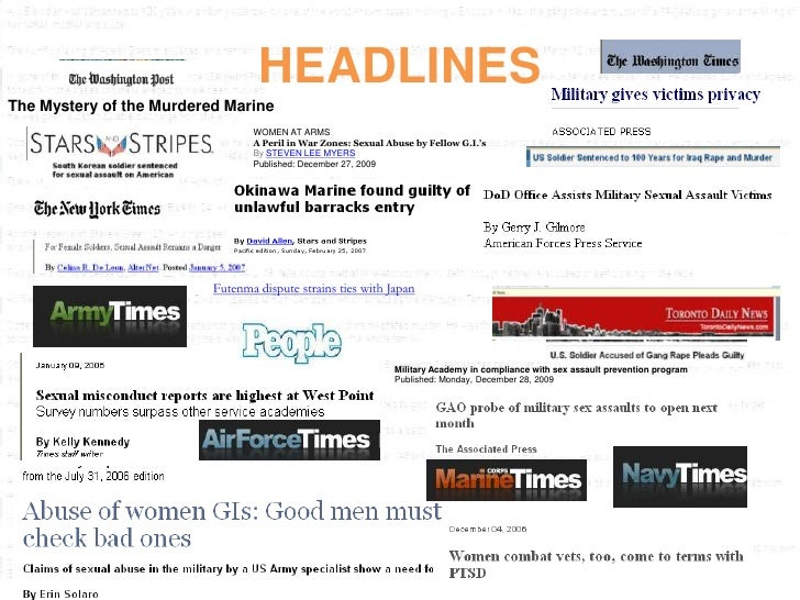 HEADLINES The Mystery of the Murdered Marine                                  WOMEN AT ARMS                               ...