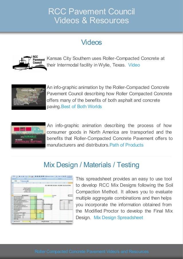 Roller Compacted Concrete Mix Designs : Rcc pavement council resources