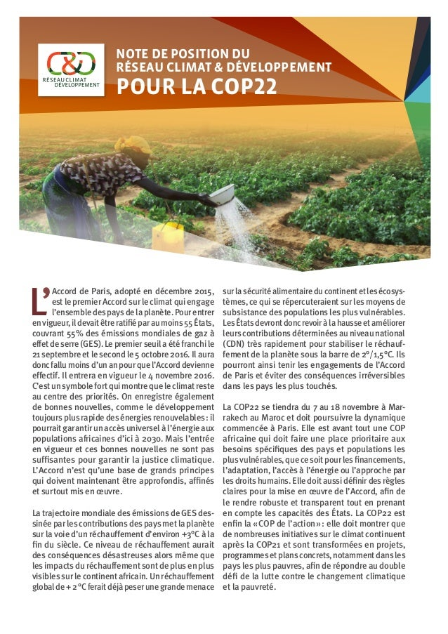 ©AboulayeIssa Note de position du Réseau Climat & Développement pour la COP22 L' Accord de Paris, adopté en décembre 2015...