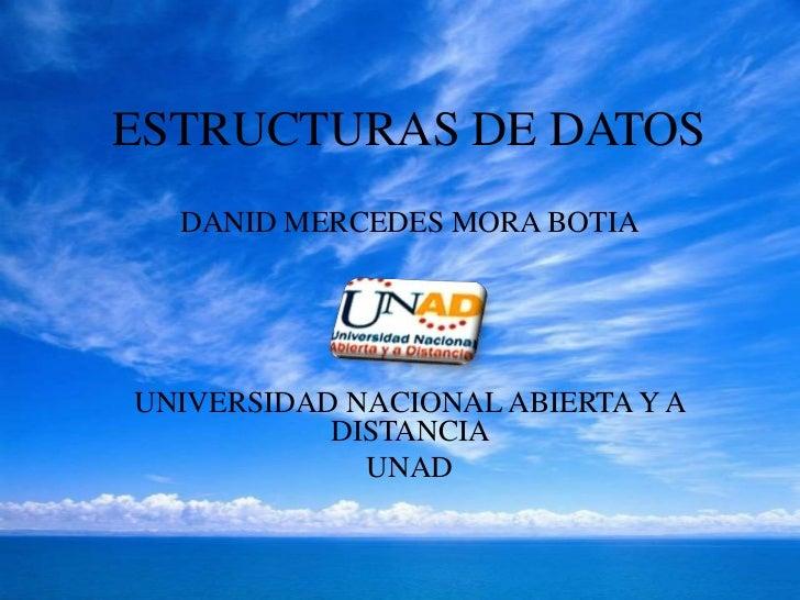 ESTRUCTURAS DE DATOS  DANID MERCEDES MORA BOTIAUNIVERSIDAD NACIONAL ABIERTA Y A           DISTANCIA             UNAD