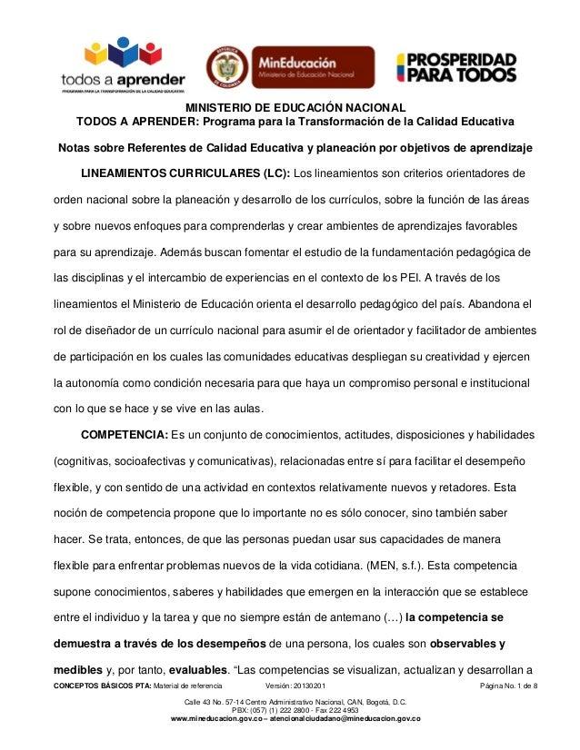 MINISTERIO DE EDUCACIÓN NACIONALTODOS A APRENDER: Programa para la Transformación de la Calidad EducativaCONCEPTOS BÁSICOS...