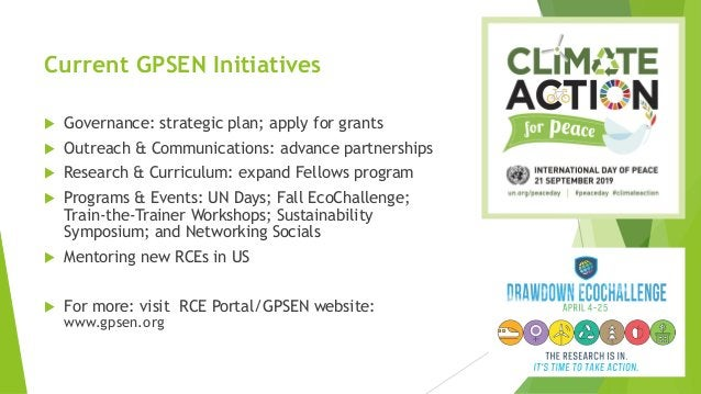 Current GPSEN Initiatives  Governance: strategic plan; apply for grants  Outreach & Communications: advance partnerships...