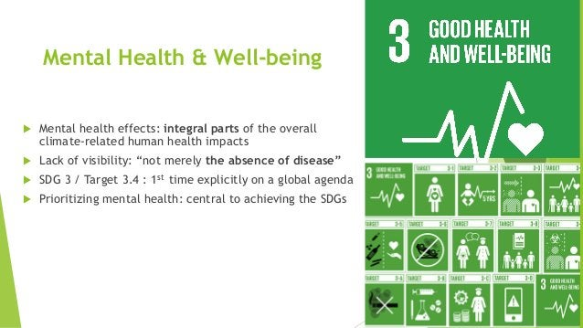 Mental Health & Well-being  Mental health effects: integral parts of the overall climate-related human health impacts  L...