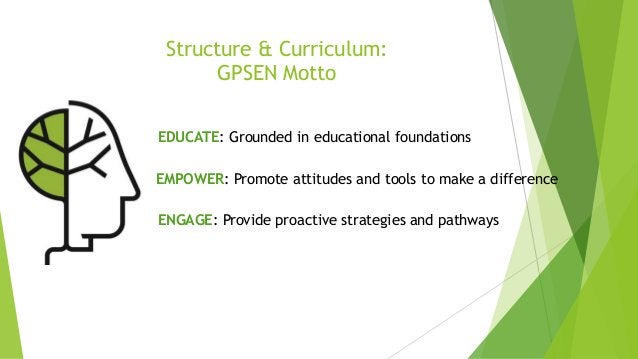 Structure & Curriculum: GPSEN Motto EDUCATE: Grounded in educational foundations EMPOWER: Promote attitudes and tools to m...