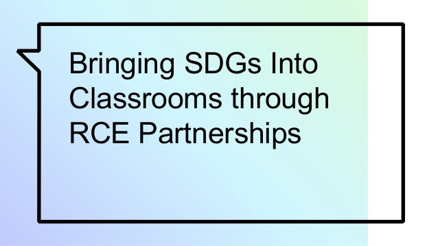 Bringing SDGs Into Classrooms through RCE Partnerships