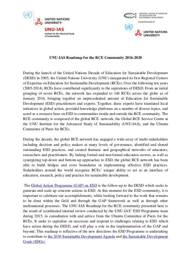 Roadmap for the RCE Community (UNU-IAS)