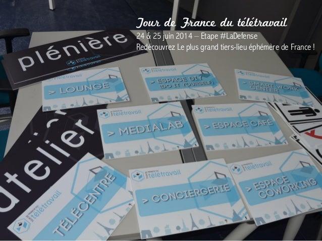 Tour de France du télétravail 24 & 25 juin 2014 – Etape #LaDefense Redécouvrez Le plus grand tiers-lieu éphémère de France...