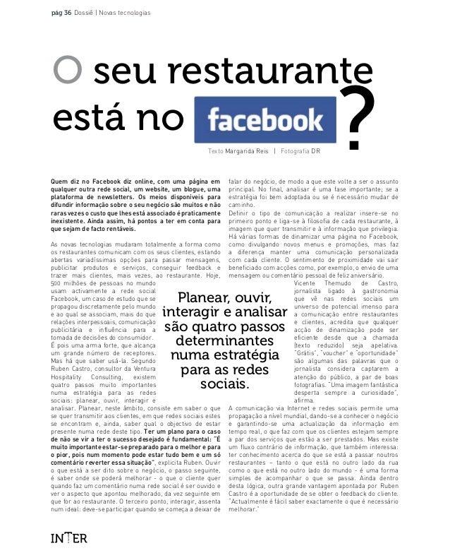 MAGAZINE pág 36 Dossiê   Novas tecnologias Texto Margarida Reis   Fotografia DR O seu restaurante está no ?Quem diz no Fac...